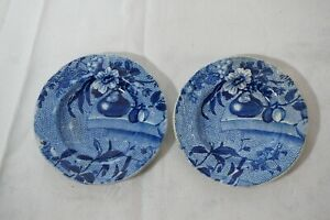 ANTIQUE CLEWS BUTTER PATS FLOW BLUE STAFFORDSHIRE BLUE WHITE FLORAL PATTERN 2