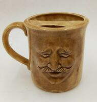 UNIQUE 3D Left Handed Face Mug w/ Mustache Guard Stoneware Coffee Tea Cocoa Cup