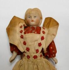 antique miniature bisque head dollhouse doll with molded hair maid / child