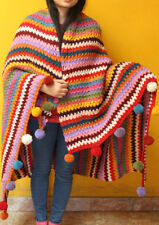 Rainbow Multicolor Hand Knitted Woolen Shawl/Blanket with Pom Pom
