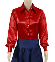 Red Satin Button Down Casual Style Solid Collar Long Sleeve Shirts Blouse Top