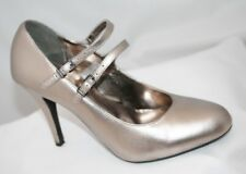 Next Pewter Leather Mary Jane Stiletto Shoes Size 4
