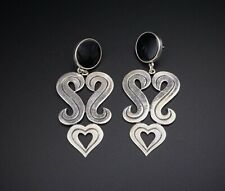 Retired James Avery Sterling Silver Heart Scroll Onyx Ear Post Earrings ES1731