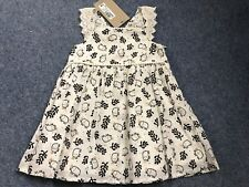 M&S Marks And Spencer Girls Black & Ivory Elephant Dress - Age 9-12 Months NEW