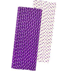 50 Purple Polka Dot Paper Straws