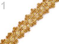 1m Leonische Borte - Schmuckband Basteln Verzieren Nähen - 25 mm - gold - 510242