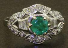 CC&G designer Platinum 1.12CT VS diamond & emerald cocktail ring size 7