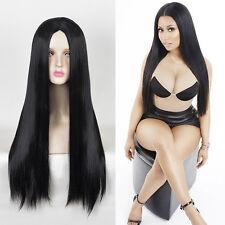 Middle part Black long sleek straight hair Nicki Minaj cosplay fashion wigs
