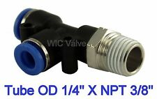 "5pcs Pneumatic Run Tee Hose Fitting Tube OD 1/4"" X NPT 3/8"" One Touch Swivel"