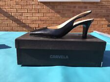 Carvela Women Black Leather Sling Back Heels Size 5.5
