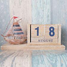 Wooden Boat Perpetual Calendar - Shabby Chic Wooden Calendar - Nautical - Rustic