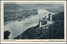 Burg Stolzenfels Rhein Postkarte ~1920/30 Burg und Rheinblick Schiffe ungelaufen