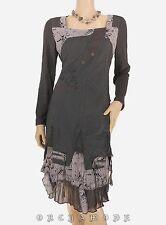 Robe C'FAIT POUR VOUS T 4 XL 42 Gris Volant Résille Manches Printemps NEUF Dress