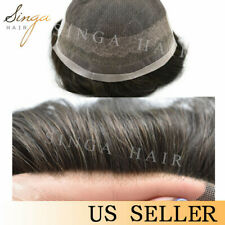 Mens Grey Hair Replacement Natural Lace Toupee Black Gray Hair System for Men