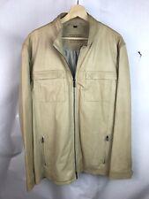 Armani Collezioni Lambskin Leather Jacket Tan Biege Sz 46
