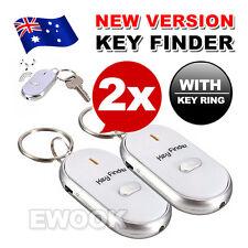 2X OZ Key Finder Whistle Car Keyring Locator Beeps Flashes Response