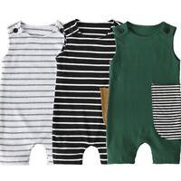 Newborn Toddler Kid Baby Girl Boy Sleeveless Rib Striped Jumpsuit Romper Clothes
