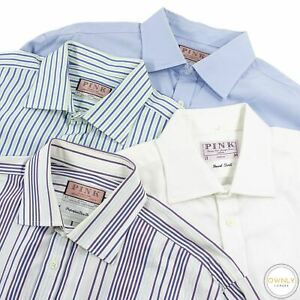 LOT OF 4 Thomas Pink Multi Color Cotton Striped Spread Collar Dress Shirts 17