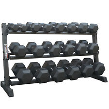 5kg - 50kg Rubber Hex 10 pairs with 3-tier rack // 5 Kg Increments Knurled Grip