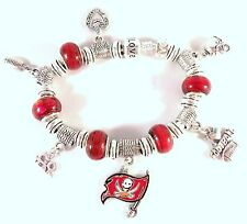 GLASS BEADS Official NFL TAMPA BAY BUCCANEERS Football Charm Bracelet RED Silver