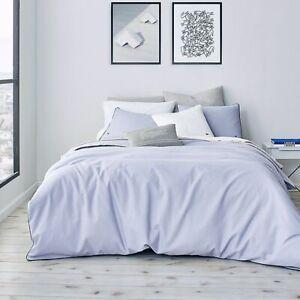 Lacoste Gorbio Duvet Cover Set & 2 Shams Icelandic Blue King Ribbed Cotton $200
