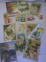 15 Vintage 1910 Christmas Postcards Angels Holly Winter Scene Poinsettia