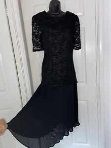 Debut Black Stunning Party Evening  Pleated Skirt Maxi Dress Size 16