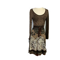 Desigual Womens Size Small A - Line Dress With Lace Trim Long Sleeves