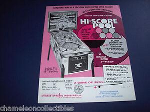 HI SCORE POOL By CHICAGO COIN 1971 ORIGINAL PINBALL MACHINE SALES FLYER BROCHURE