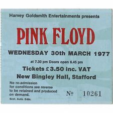PINK FLOYD Concert Ticket Stub STAFFORD UK 3/30/77 BINGLEY ANIMALS TOUR Rare