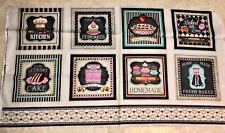 Home Sweet Home Baking Theme 100% cotton fabric panel 24 X 44 panel large blocks