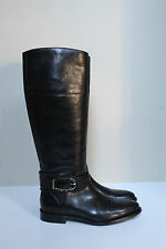 sz 7 US / 37 Eur Burberry Black Leather Knee High Riding Tall Boots Shoes
