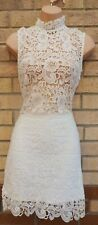 WHITE HIGH NECK SLEEVELESS FLORAL CROCHET LACE SEE THROUGH TOP BODYCON DRESS 14