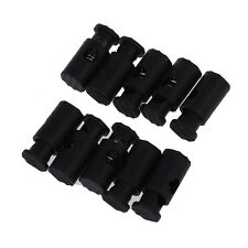 Black Plastic Toggles Stop Drawstring Cord Locks 10 Pcs ED