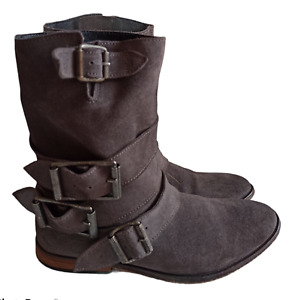 Free People Womens Grey Sunbelt Suede Leather Ankle Boots Booties Size 36