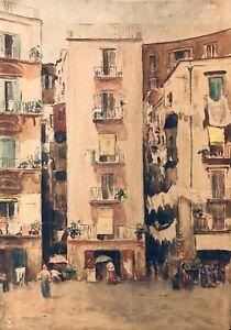 Antique Watercolor Cityscape Flowers Figures Orientalist European Impressionist