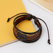 Fashion Retro Multilayer Leather Wristband Bracelet Cuff Bangle Men Women f