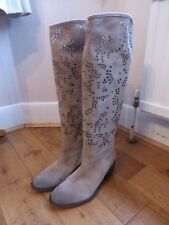 Lama Peach beige suede floral cut out pull on cowboy casual festival boots 39 6