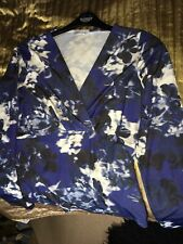 Ladies Top Size 14 Artigiano Long Sleeves Floral Print Blue Nearly New