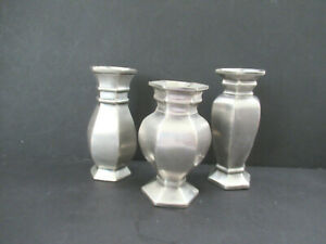 Vintage Pottery Barn Set Of 3 Pewter Bud Vases Antique Style Preowned