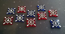 X-Wing Miniatures compatible, acrylic target lock tokens x 10 (A-E)