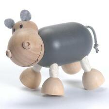 NEW AnamalZ Hippo Hippopotas Poseable Wood Wooden Figure 10cm  Preschool Steiner