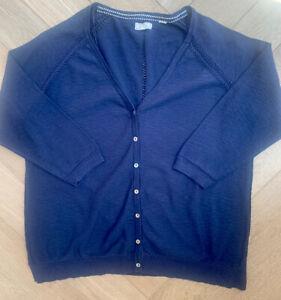 Fat Face Womens Navy Blue Fine Knit Cotton Cardigan Size 16