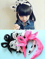 Women Lady Girl Kids Children Retro Dots Lace wire Party Bow Hair Head Band PROP