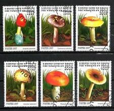 Champignons Bénin (4) série complète de 6 timbres oblitérés