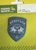 Aufbügler Aufbügelmotiv Patch Polospieler Wappen Heritage grau Aufnäher NEU