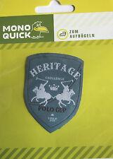 1 Aufbügler Aufbügelmotiv Patch Polospieler Wappen Heritage grau Aufnäher NEU