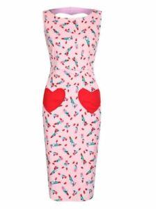 Lindy Bop 'Bonbon' Pink Lipstick Print Wiggle Dress UK 12 LN017 EE 15