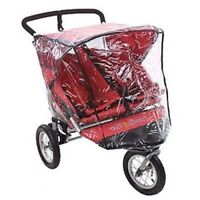 Universal nipper double 360 STROLLER RAIN COVER SIDE BY SIDE PVC NEW 3 wheeler