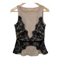 Ann Taylor Loft Womens Sleeveless Lace Scoop Neck Top Blouse Work Petite Size 6P